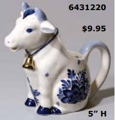 Floral Delft Blue Cow creamer