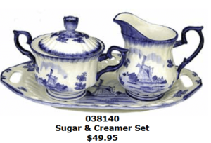 Delft Blue Creamer Sugar and plate set