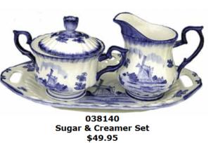 Delft Blue Creamer Sugar and plate set