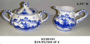 lighter blue delft blue creamer set
