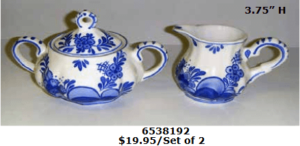 light blue ceramic delf blue creamer set