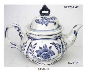 hand painted delft blue ceramic teapot