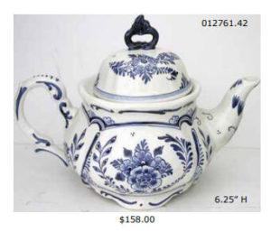 hand painted delft blue ceramic teapot