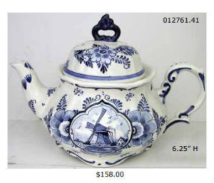 hand painted delft teapot