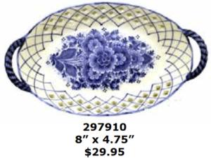 floral lattice ceramic oval dessert plate