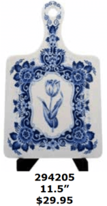 large delft blue tulip  ceramic cutting board