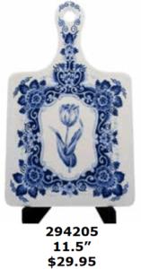 large delft blue tulip ceramic cutting board