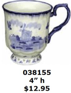 abstract windmill, dark blue rimmed coffee cocoa mug