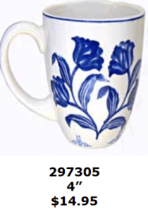 blue flowery tulips coffee mug