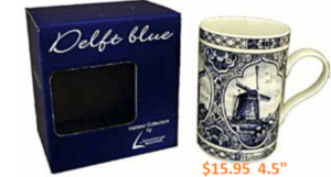 boxed delft blue coffee mug