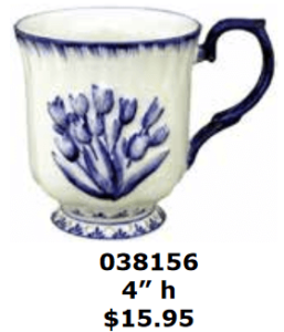 scalloped embossed blue tulips on white coffee cocoa mug