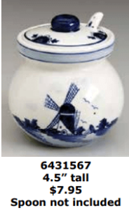 delft blue jam jar with windmill