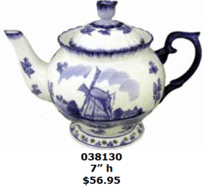 Windmill teapot in delft blue
