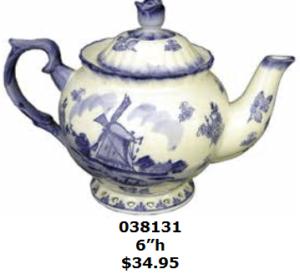 Floral windmill Delft blue teapot