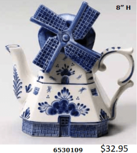 Actual windmill shaped tea pot in delft blue