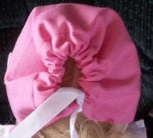 DBL-pinkruffle-Baby Bonnet Back