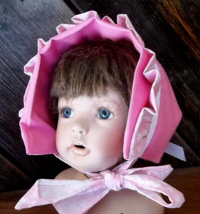 Double Pink Rufffled baby infant bonnet front