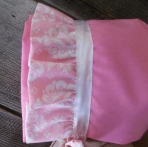 DBLL-pinkruffle-side baby bonnet