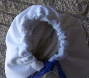 Hand crocheted blue ric rac white baby girl sunbonnet
