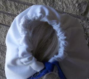 Hand crocheted blue ric rac white baby girl sunbonnet