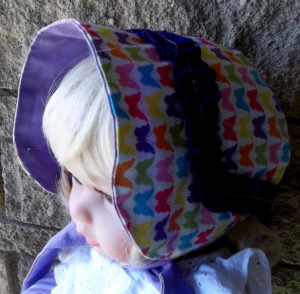 Small handmade multi-colored baby infant bonnets,Butterfly-purple ruffle baby girl bonnet, Small handmade multi-colored baby infant bonnet