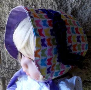 Small handmade multi-colored baby infant bonnets,Butterfly-purple ruffle baby girl bonnet, Small handmade multi-colored baby infant bonnet