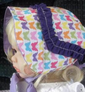 Butterfly- Purple ruffle baby girl sunhat side