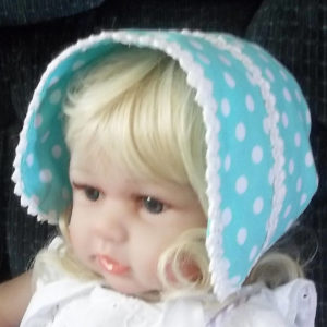 Newborn and Infant Polka Dot blue bonnet-front,Small handmade multi-colored baby infant bonnet