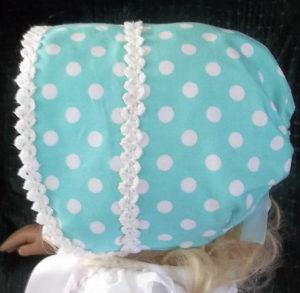 Small handmade multi-colored baby infant bonnets,Baby Infant Blue Polka Dot bonnet-side