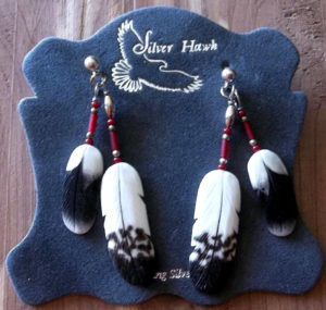 Harris Hawk and Golden Eagle carved bone feather earrings