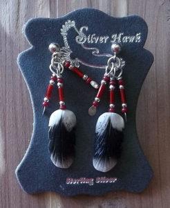 Silver Hawk Carved bone feather sterling silver earrings