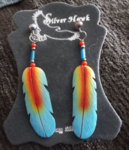 carved three colored parrot feathers silver hawk earring design
