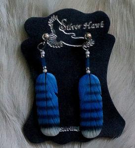 Silver Hawk Carved Blue Jay Earrings