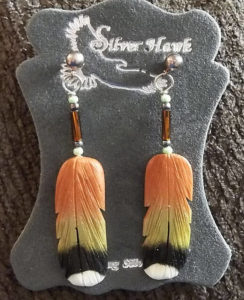 Carved Bone Feather Earrings broad tailed hummingbird