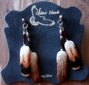 Silver Hawk Carved Feather Bone earrings-Ferruginous Hawk and Roughlegged Hawk double earrings-Rawhide Gifts and Gallery