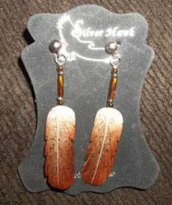Silver Hawk Carved Feather Bone Earrings of Ferruginous Hawk-Rawhide