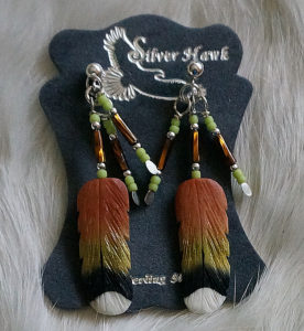 Broad Tailed Hummingbird Bone Feather Earrings