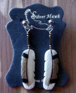 Pin Tail Duck hand carved earrings