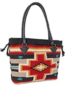 Saddle Blanket Purse with Red, black and gray tones,