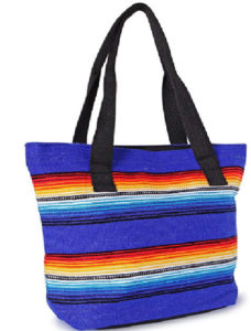 Saddle Blanket Bag in bright blues and red stripes