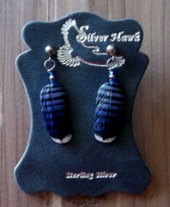 Silver Hawk Sterling silver carved feather earrings peregrine