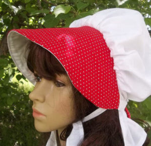 Tiny red and white polka dot ladies summer breeze sun bonnet lightweight cotton summer breeze ladies sun bonnet
