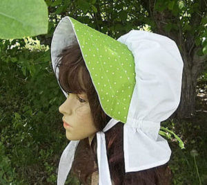 Lades summer sun bonnet in white and green polka dots, lightweight cotton summer breeze ladies sun bonnet