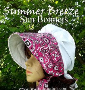 Summer Breeze Ladies Sun Bonnets,  Bandana print,