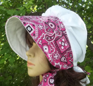 Bandana Pink on White Summer Breeze Bonnet, lightweight cotton summer breeze ladies sun bonnet