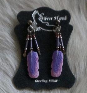 Violet Eared Sylph Silver Hawk carve earrings