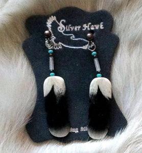 Harris Hawk Carved feather earrings