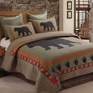 Bear 3pc Bear and Paw Microfiber Cabin Lodge Quilt Set,