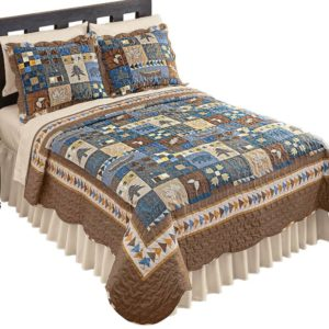 Woodlands Cabin Blue and Brown Patchwork Quilt, Bears, Moose, Pine Trees Décor, Blue Patchwork, Twin