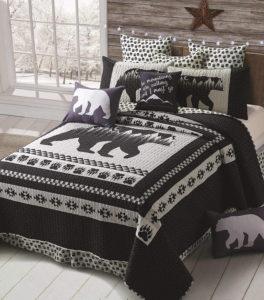 Bear silhouette print loge duvet quilt